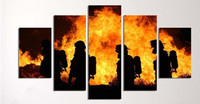 Fire Painting 5 Pieces Of Diy Diamond Painting Cross Stitch Fireman Full Square Drill 5d Diamond