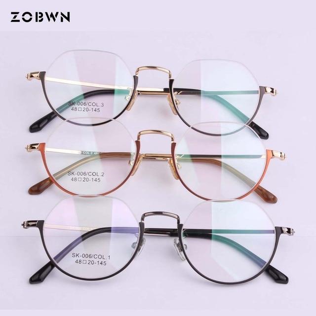 0d082e297e2 2018 Fashion Eye Glasses Women Retro Eyeglasses Frame Brand Metal Vintage  Female Optical Clear Myopia Eyewear Oculos half frame