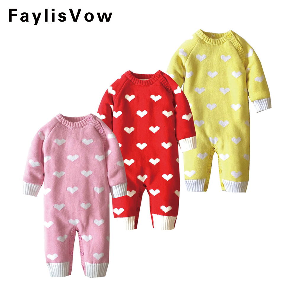 Clearance Baby Coral Fleece Sweater Romper Kids Thick Clothes Newborn Infant Soft Warm Jumpsuit Cute Heart Print Thermal Outwear