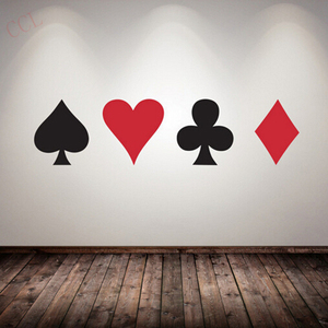 Poker Decal Pro Cards Spade Club Heart Diamond Wall Sticker Suit Playing Game Room Night Basement Casino Dealer Deal Bet King(China)
