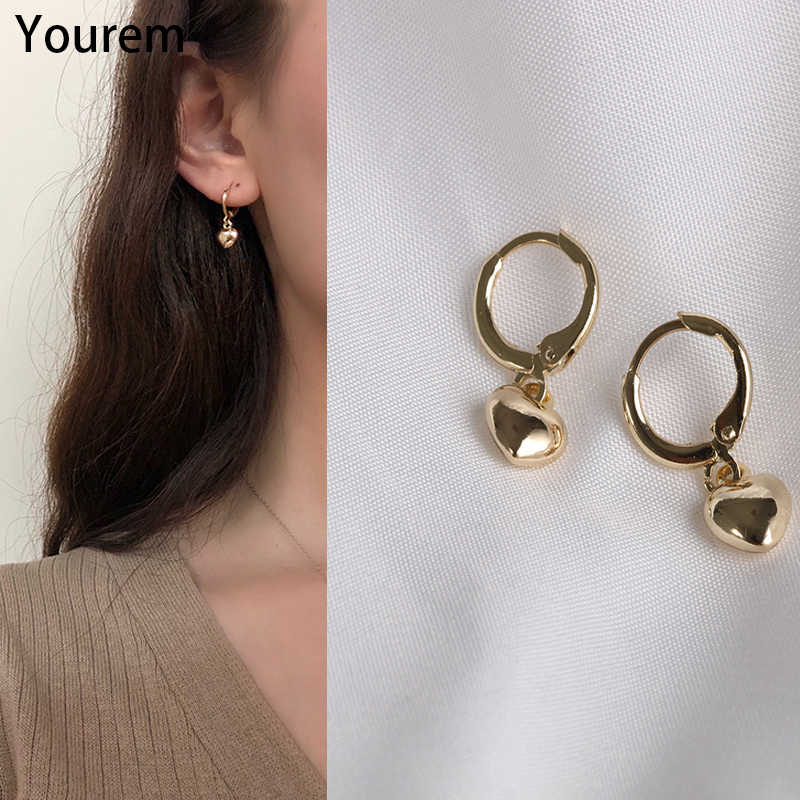 YOUREM high quality trendy sporty casual little cute heart charm hoop earrings for women girls jewelry earing gifts wu018