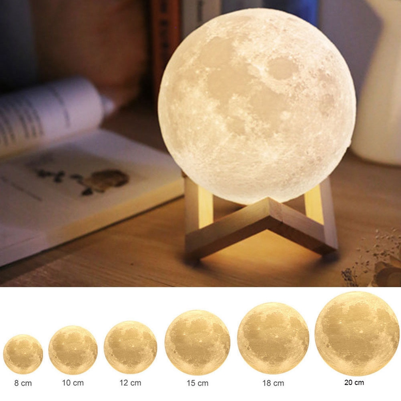 Creative Gift Rechargeable 3D Print Moon Lamp USB DC5V Touch Switch Bedroom Bookcase Night Light Home Decoration