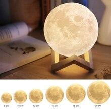 Kreative Geschenk Wiederaufladbare 3D Print Mond Lampe USB DC5V Touch Schalter Schlafzimmer Bücherregal Nachtlicht Hause Dekoration