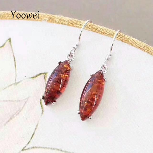 Yoowei Genuine Amber Earrings For Women Oval Drop Dangling Earring Beewax Cherry Original Baltic Natural