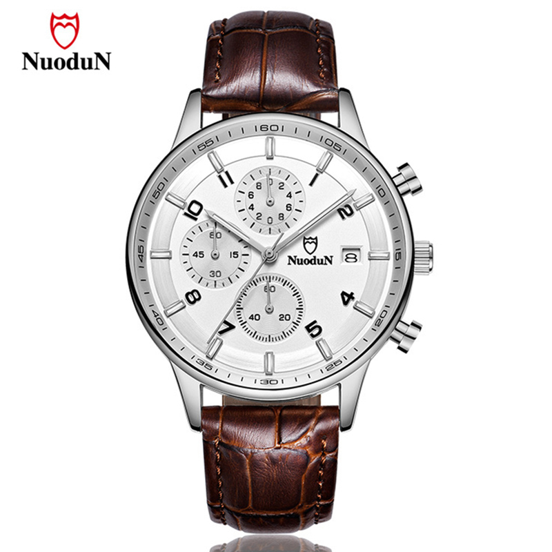 Nuodun Brand Men Watch Gold Plated Leather Strap Fashion Quartz Watches Mens Wristwatches Casual Clock Date Reloj Masculino oulm brand mens rectangle leather strap hand wind mechanical watch fashion casual wristwatches with gift box relogio releges