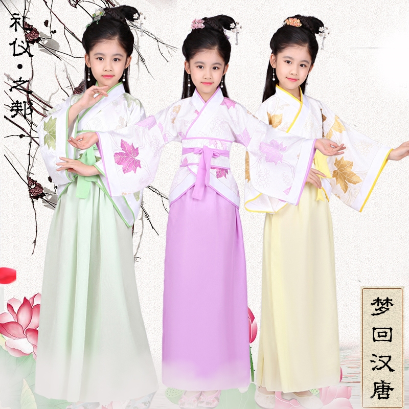 2018 spring girls chinese princess costume traditional dance costumes kids leaves children folk ancient hanfu tang dynasty dress high end handmade chinese dolls ancient costume tang princess jin yang jointed doll articulated kids toys girls birthday gift