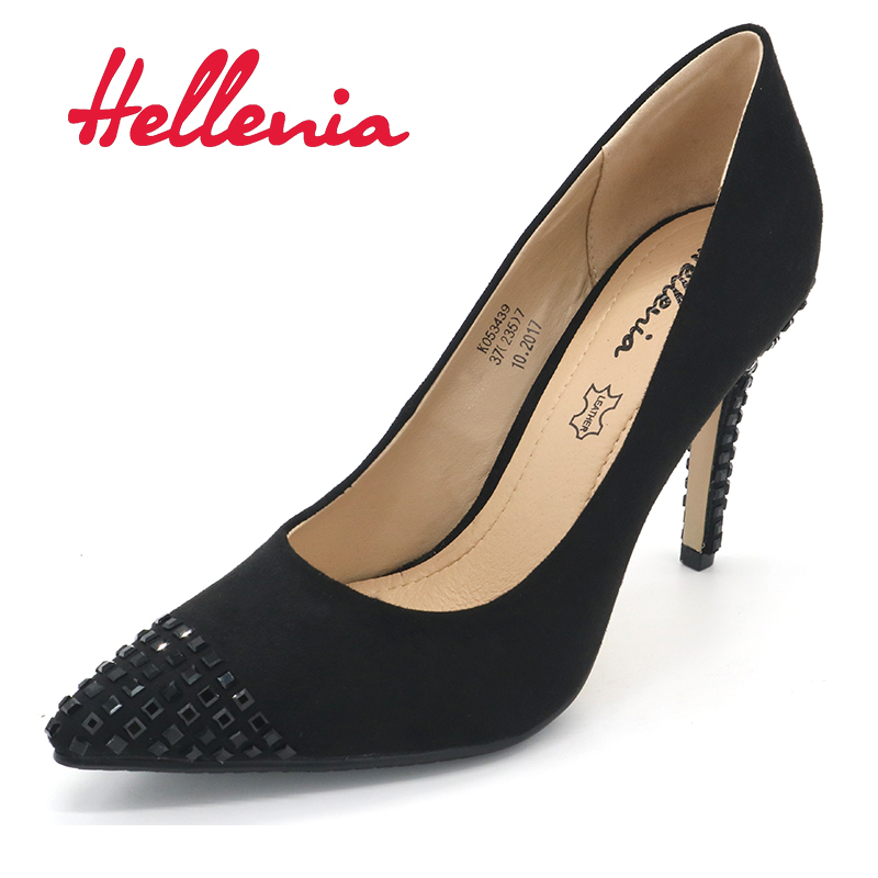 Hellenia Spring Autumn Women Pumps Sexy Black High Heels Shoes Fashion Luxury Rhinestone Wedding Party Shoes pointed toe shoe siketu 2017 free shipping spring and autumn women shoes high heels shoes wedding shoes nightclub sex rhinestones pumps g148