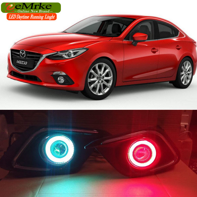 eeMrke LED DRL Daytime Running Lights For Mazda3 Axela 2014 2015 2016 LED Angel Eye Halogen H11 55W Fog Light  Kits for mazda 3 axela 2014 car led drl cob angel eye projector lens halogen fog lamp daytime running lights 2pcs