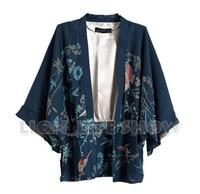 Summer Japan Women Batwing Sleeve Blue Floral Phoenix Kimono Yukata Coat Outwear