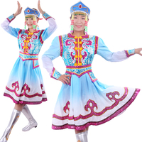 Chinese Minority Clothing Apparel Ethnic Garment Mongolia Nationality Clothing Costumes Mongolia Stage Performance Dance Wear