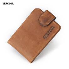 Leacool Free shipping Men Genuine Leather Wallet Business Casual Credit Card ID Holder Strong Magnet Money Clip 2 Colors