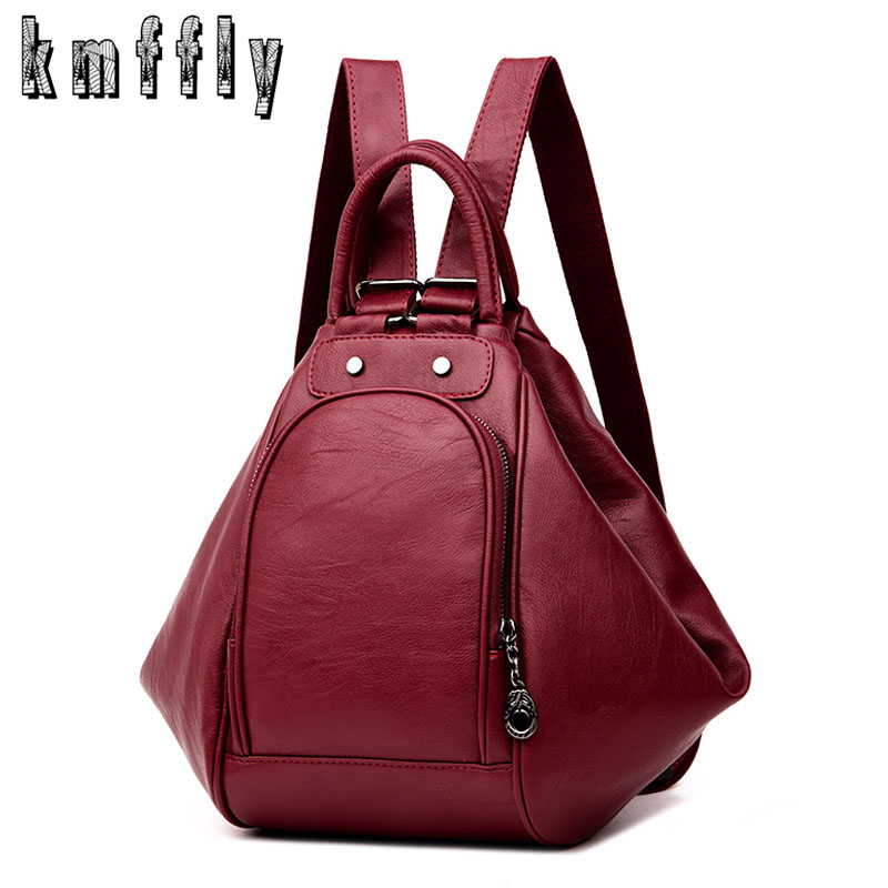 Fashion deformation woman back pack leather black backpack school bag for girl sac a dos femmes satchel backpack luxury bag