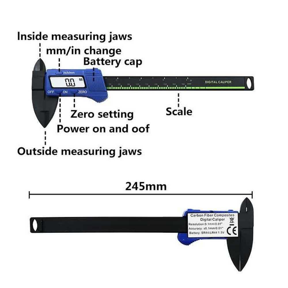 150mm étrier numérique 0.1mm résolution électronique en Fiber de carbone Vernier LCD affichage jauge micromètre 6 pouces mesure pachymètre