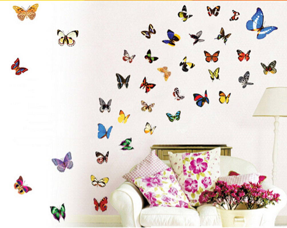 online get cheap colourful butterfly wall sticker art aliexpress 80x colourful butterflies wall art stickers wall decal home decoration girl room china mainland