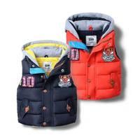 New Arrival Baby Boys Autumn Winter Thick Hooded Waistcoat Kids Fashion Warm Vest Boys Windbreak Outerwear