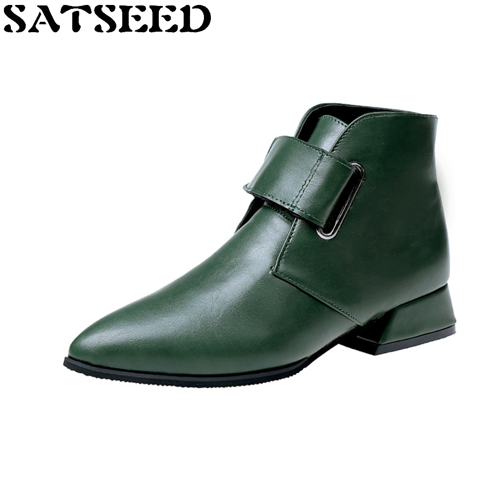 New Autumn Winter Boots Boots Martin British Students Fashion Pointed Toe Naked Female Ankle Boots Buckle Green Black Shoes short boots woman the fall of 2017 a new restoring ancient ways british wind thick boots bottom students with martin boots
