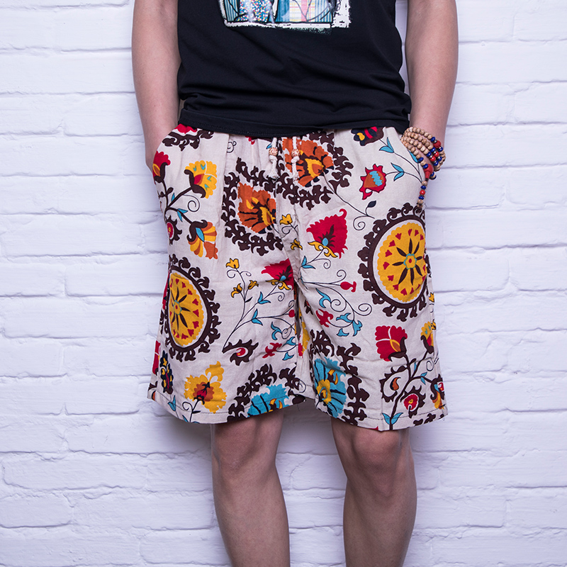 Summer Mens Flower Shorts S M L XL 2XL 3XL Cotton & Linen Fashion Casual Movement Man Lace-up Shorts Loose and Cool Comfort