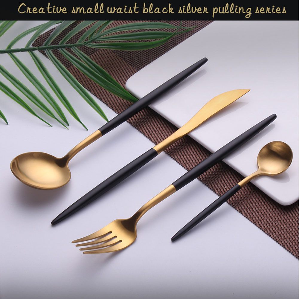 Reusable Cutlery Golden Knives Forks Spoons Dinnerware Set Western Kitchen Portable Stainless Steel Home Party Tableware Sets