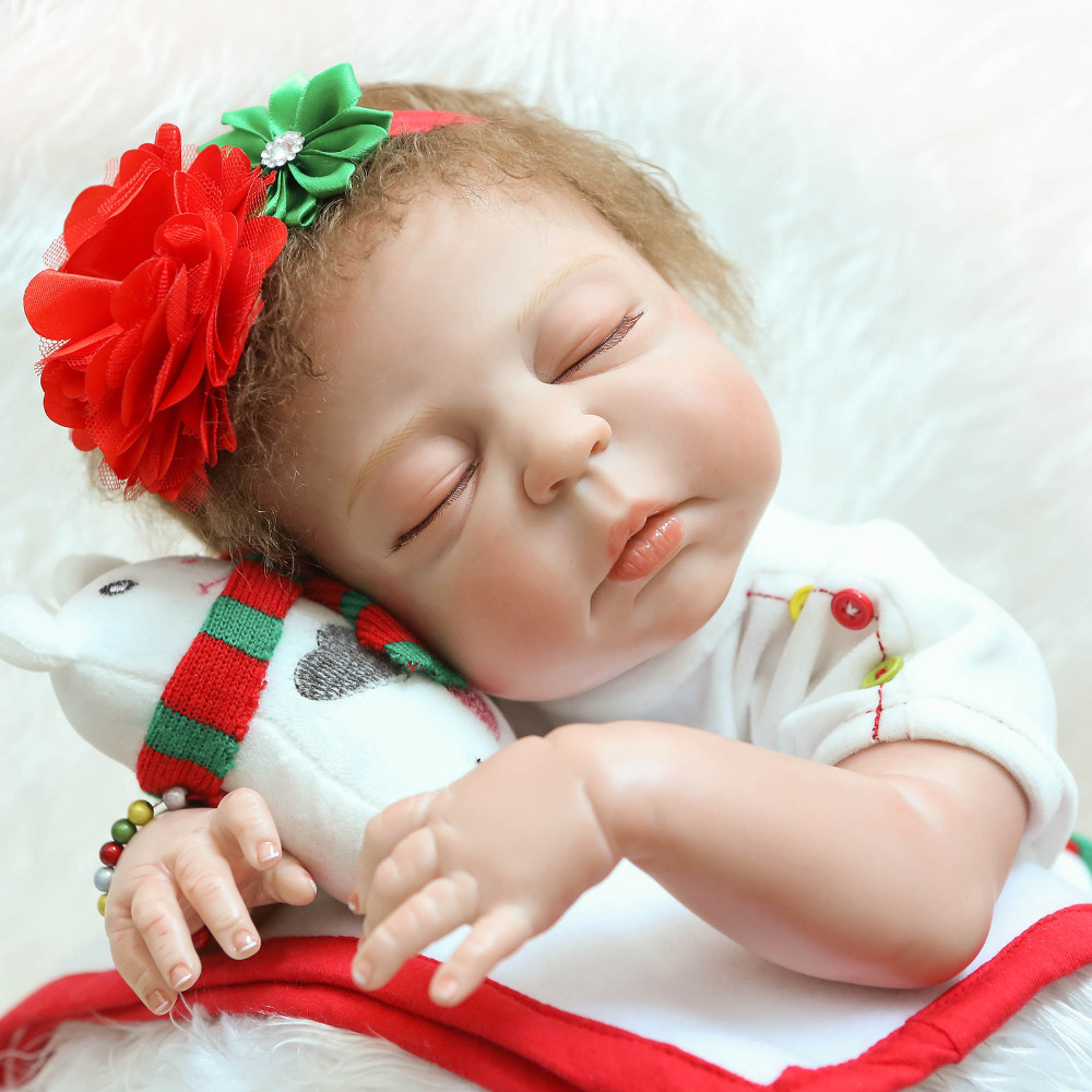55cm Full Body Silicone Reborn Baby Doll 22 Lifelike Vinyl Newborn Babies Dolls with Christmas Clothes Sleeping Partner55cm Full Body Silicone Reborn Baby Doll 22 Lifelike Vinyl Newborn Babies Dolls with Christmas Clothes Sleeping Partner