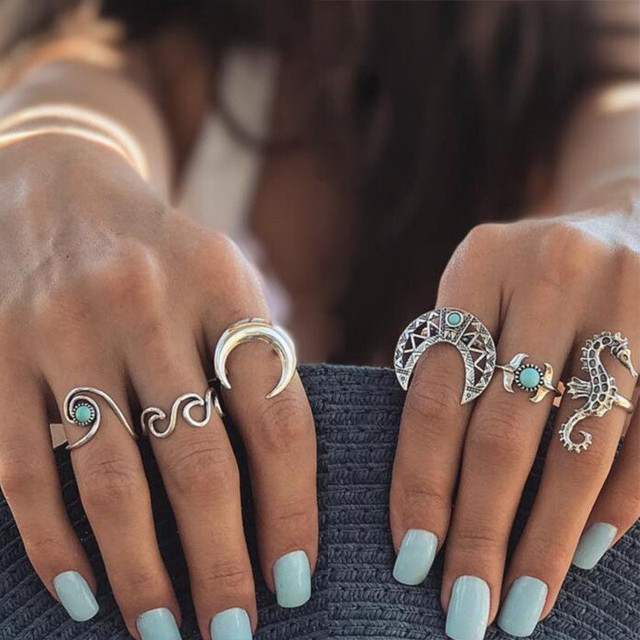 Miss JQ 13pcs/set Boho Style Retro Silver Plated Elephant Hollow Lotus Ring Sets for Women Knuckle Midi Rings Beach Jewelry 4