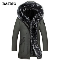 BATMO 2018 new arrival winter high quality thicked 90% white duck down big Raccoon fur collars hooded jackets men,winter parkas
