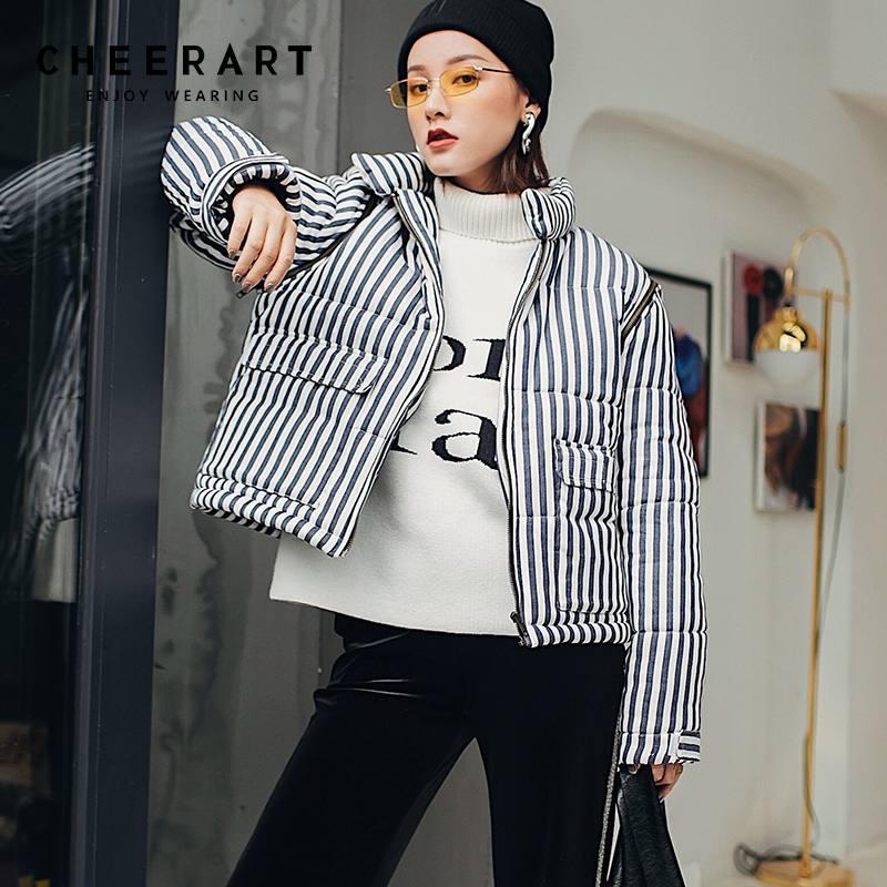 Cheerart Winter Jacket Women   Parka   Blue And White Striped Coat Padded Down Jackets   Parka   Femme Short Coat 2018 Clothing
