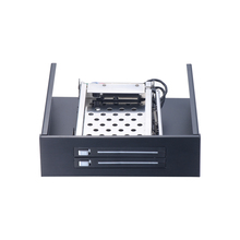 Trayless Swap Mobile Rack 5.25inch for 2 Bay Dual 2.5inch Hard Drive Internal SATA III HDD SSD Backplane Frame 5.25inch-2.5inch