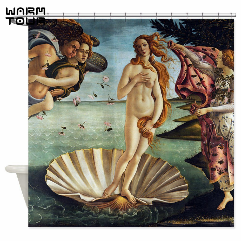 Warm Tour Sandro Botticelli Birth Of Venus Decorative Fabric Shower Curtain Polyester Waterproof Bathroom Curtain WTC047