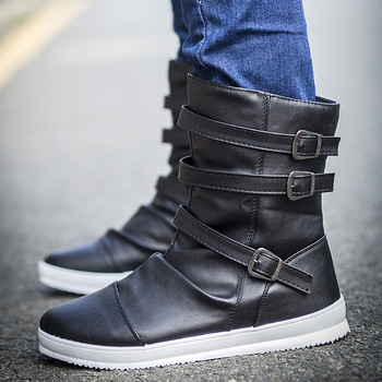 New Spring Autumn Men height increase ankle boots male fashion leather dress shoes Buckle high tops Leather Boots High heels mycolen new brand high quality spring autumn shoes men super warm leather boots fashion high top man ankle boots askeri bot