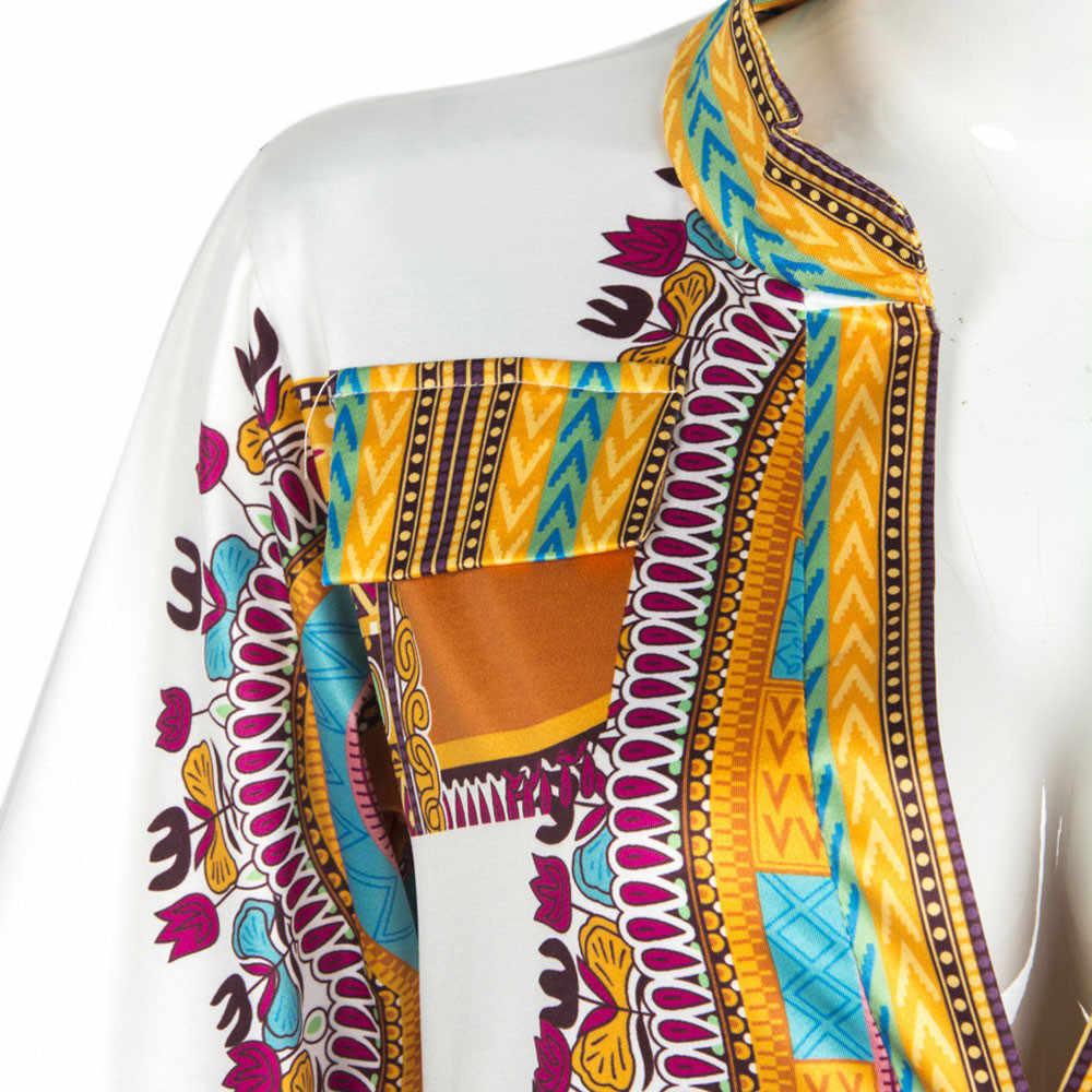Лето 2018 г. для женщин традиционный Африканский узор вечерние новый дизайн Дашики пикантные Повседневные платья костюмы плюс размеры XL
