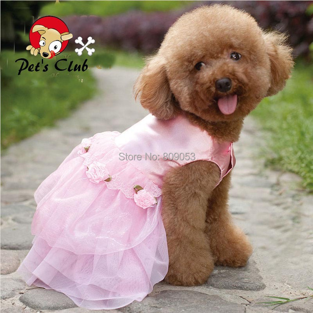 Pink Princess Dogs Wedding Dress Pets Puppy Tutus Formal Party