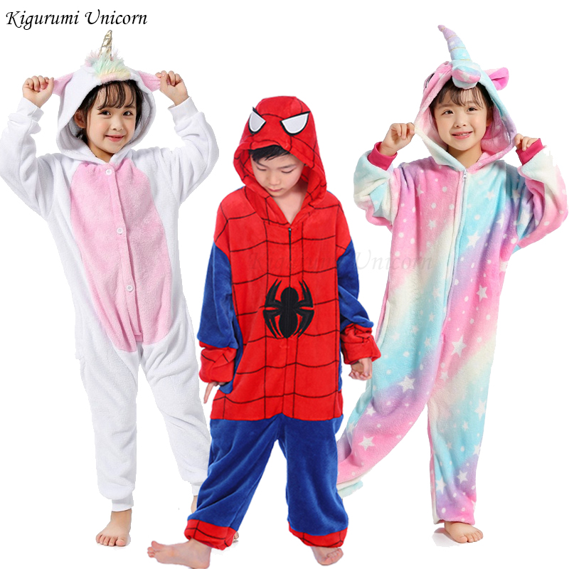 Kigurumi Unicorn Pajamas Set Kids Winter Warm Onesies Cosplay Children Pyjamas Boys Girls Flannel Pijamas Set Animal Sleepwear