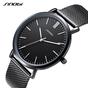 SINOBI Top Marke Uhren Männer Quarz Sport Uhr Uhrengehäuse Ultra Dünne Business Uhr Edelstahl Mesh Gürtel Relogio Masculino