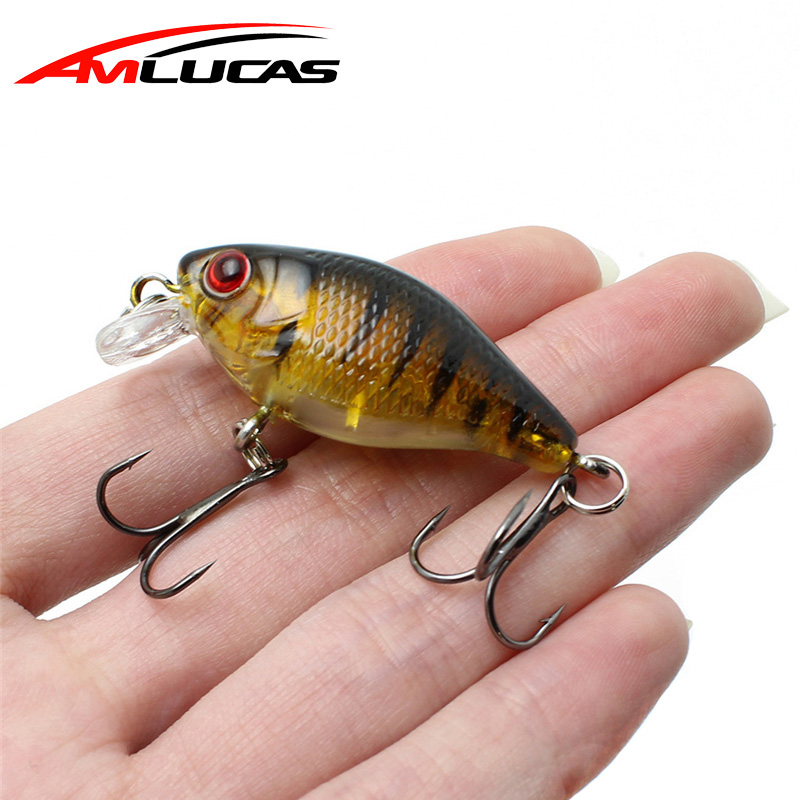 купить Amlucas Minnow Fishing Lure 45mm 4.4g Crankbait Hard Bait Topwater artificial Wobblers Bass carp fishing Accessories WE304       по цене 46.73 рублей