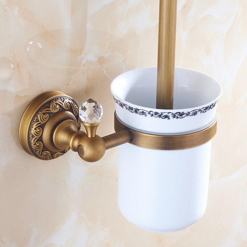 Toilet Brush Holders Antique Bronze Solid Brass Toilet Bowl Brush Clean Ceramic Bathroom Accessories WC Borstel Brushed 3709F
