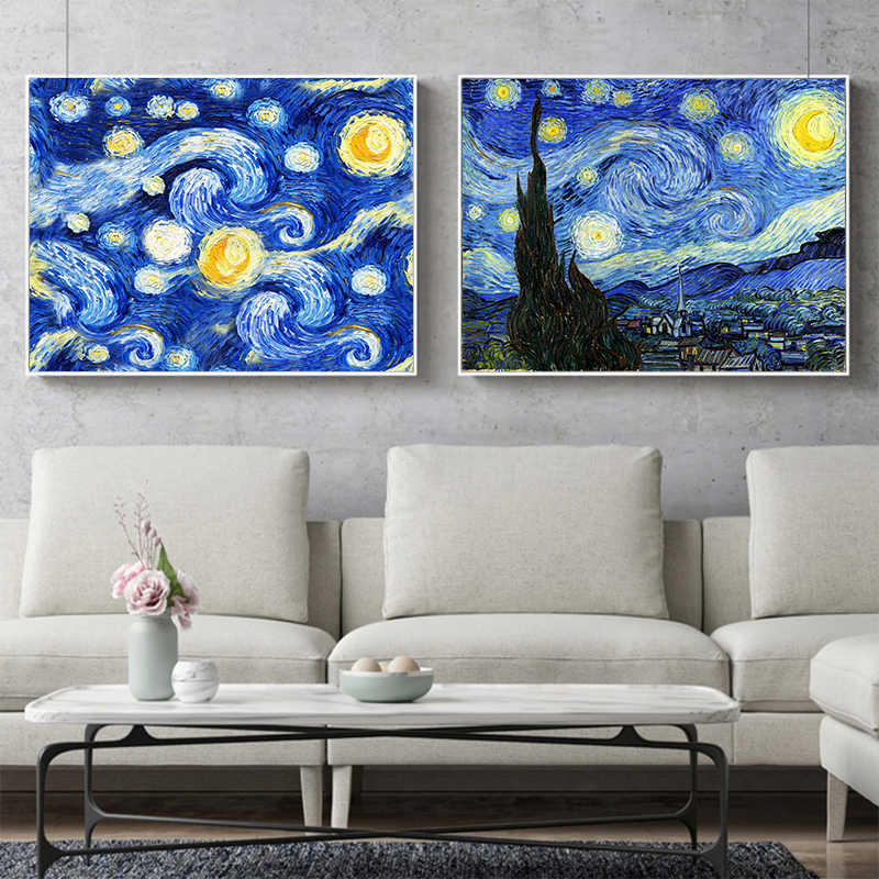 Starry Night Canvas Painting Decoration Room Decor Poster Canvas Pictures No Frame Famous painters Vincent Van Gogh Oil Painting