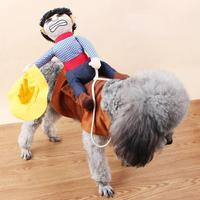 Funny Cowboy Riding Pet Dog Cat Clothes Novelty Costume For Party Knight Dress Up Apparel Easy