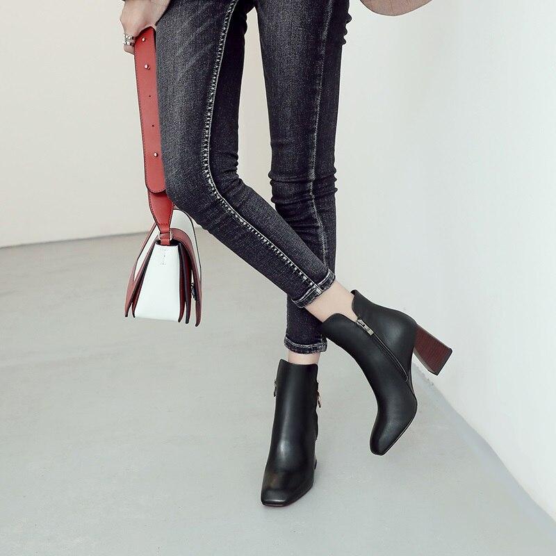 Éclair Bureau L'extérieur Femmes Qualité À Chaud Zvq Fermeture Nouvelle Talon Bout Chaussons En Mode Chaussures Black Véritable Cuir Pour D'hiver Haute Carré Hvpq6