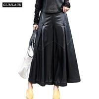 New Pleated Genuine Leather Trousers Lady Loose Wide Leg Pants Women 2019 Designer Luxury Sheepskin Baggy Harajuku A Line Pants