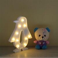 Yenilik 3D lambası Penguen LED Gece Işığı Sevimli Kapalı Dekoratif Masa Masa Lambası Ev Düğün Dekorasyon NightLight IY304103