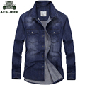AFS JEEP Brand-clothing Men's Denim Shirt Long Sleeve Casual Blue Color Jeans Shirt Man Dress 75