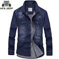 AFS JEEP Marca-roupas Cor Azul calças de Brim dos homens Denim Camisa de Manga Comprida Casual Camisa Homem Vestido De 75