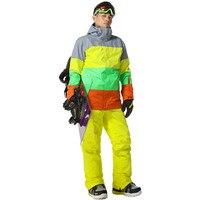 Новый Стиль Мужчины Лыжный Костюм Супер Теплая Одежда Лыжи Сноуборд Куртки + Брюки Костюм Установить Ветрозащитный Водонепроницаемый Зимо