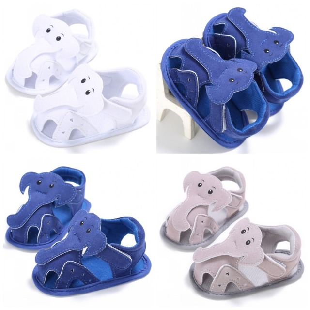 Newborn Baby Summer Boys Stitched Walking Shoes Cute Elephant Animals First Walkers Crib Hollow Shoes Pram