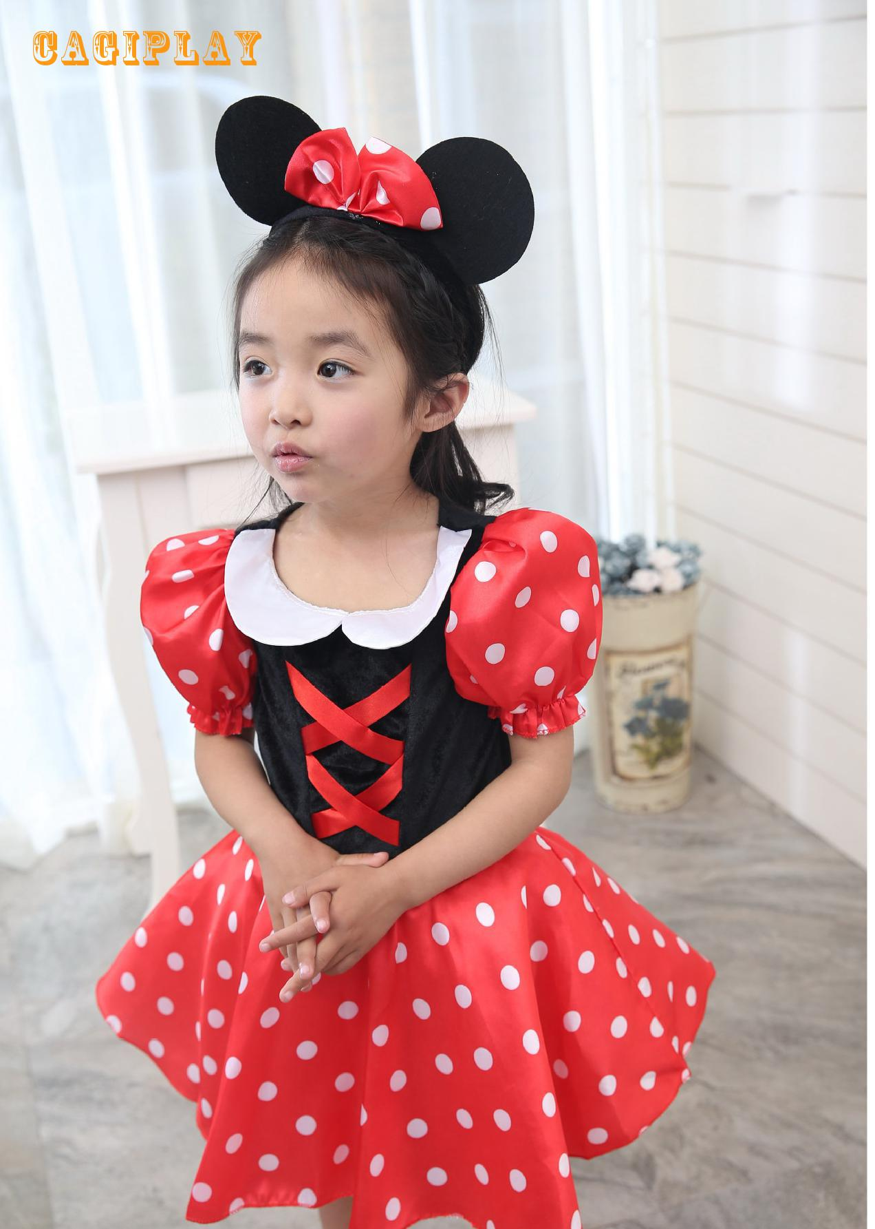 2018 New Princess Birthday Gift Mouse Minnie Dress Girl Carnival Cosplay Clothing Halloween Costume For Kids Age 3-10 Years