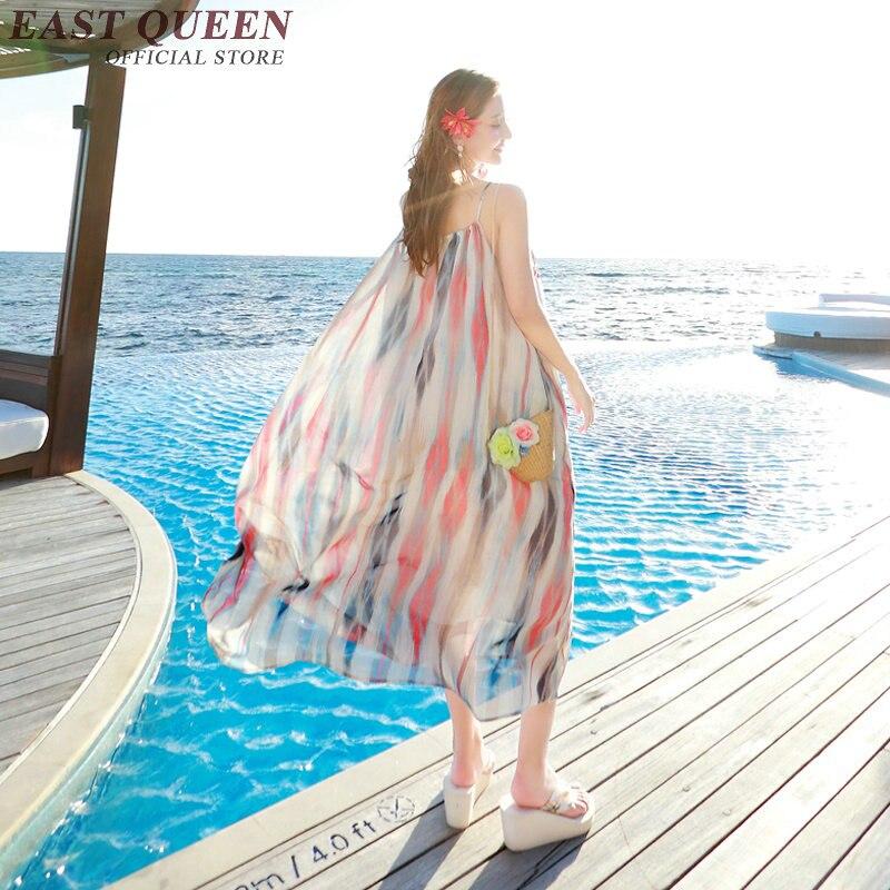Robes longues pour femmes plage sundress tunique femme été plage chic bohème style Long sans manches mer chemise couverture AA2077 Q