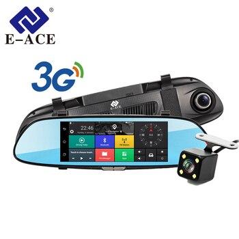 E-ACE 7.0 Pollici Android GPS Per Auto Dvr WIFI Bluetooth HD Video Recorder Auto Rear View Mirror Rivelatore Del Radar Dashcam Dual videocamera per auto
