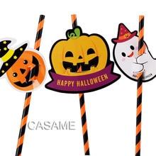 10pcs paper straws Halloween pumpkin Orange card party colorful Kids Birthday Wedding Decorations Paper Drinking Straws