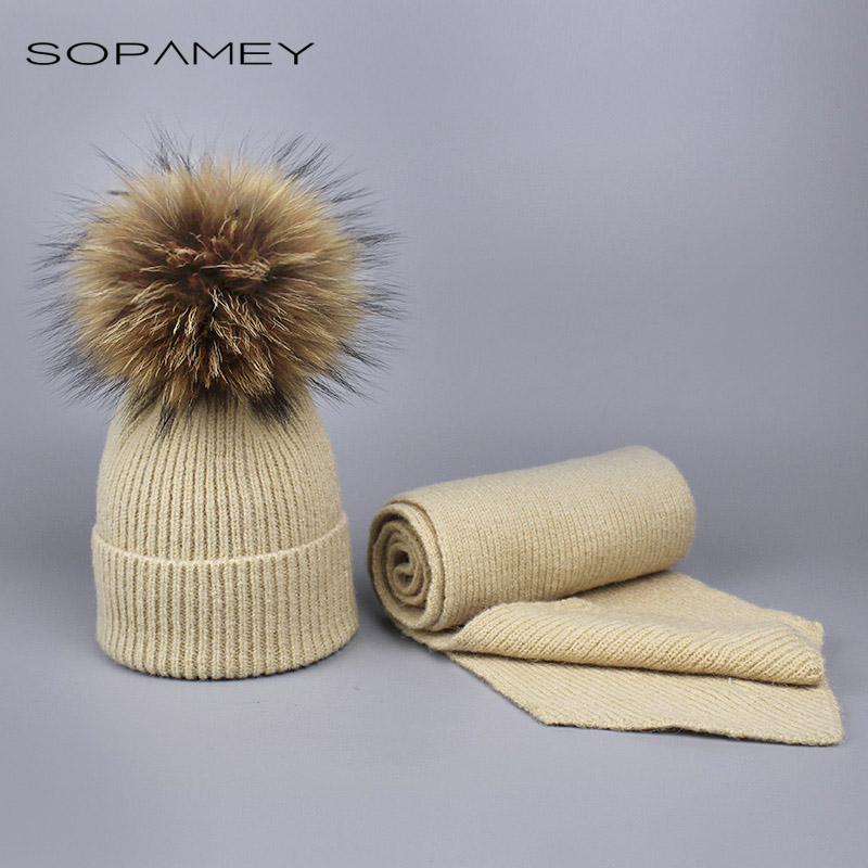 Children and Adult knitted Wool Scarf and Hat Set Winter Warm Crochet scarves with Real fur pompom Beanie Hat for boys and girls mobile telephony dangerous for both adult and children