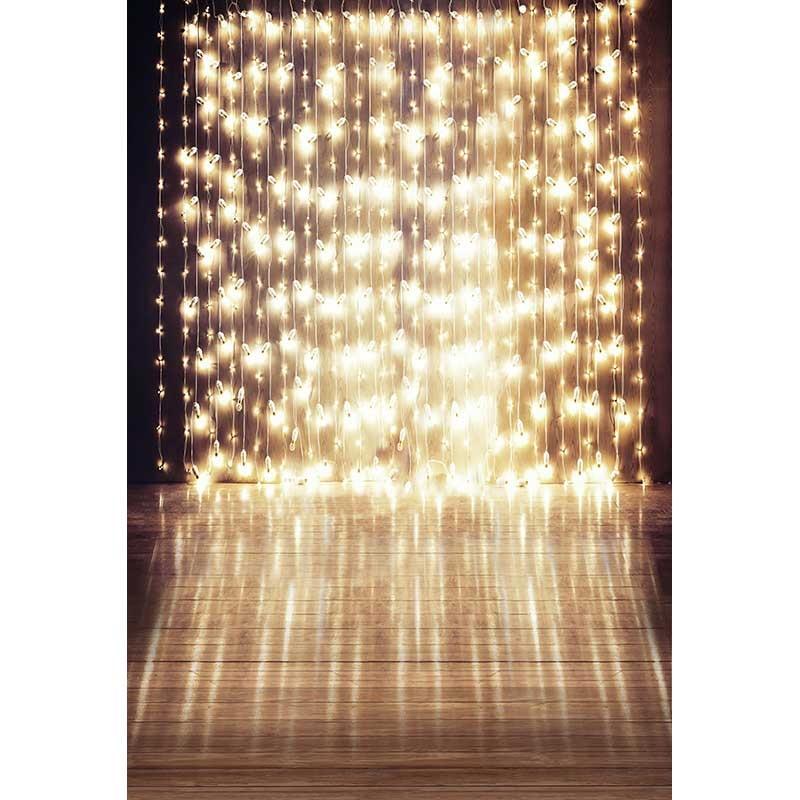 Custom Vinyl Shiny Stage Photography Backdrop String of Festive Lights Wedding Template Background for Photo Studio CM-6904